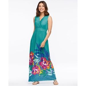 Tropical Braided-Waist Sleeveless Maxi Dress